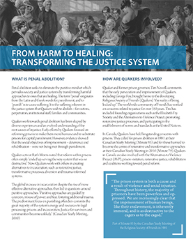 Our statements & educational resources on justice include this one on penal abolition - From Harm to Healing