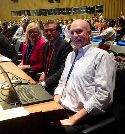 Paul Joffe, Grand Chief Matthew Coon Come, and Jennifer Preston at the United Nations Permanent Forum on Indigenous Issues