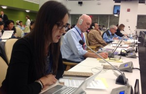 CFSC partners to deliver joint statements at United Nations forums. Above Joanne Ottereyes, Coordinator of Quebec Native Women, delivers joint statement on good governance at UN Permanent Forum on Indigenous Issues (2014)