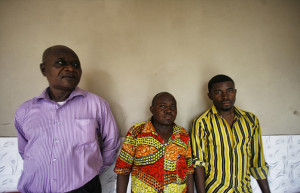 Ngaliema Peace Cell, Kinshasa, DR Congo. Three of the volunteer conflict mediators CFSC supports (Feb, 2014).