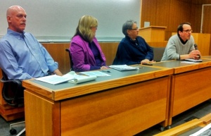 Left to right: Paul Joffe, CFSC staff Jennifer Preston, Grand Chief Edward John, and Craig Benjamin speaking at a panel in Vancouver on Indigenous Rights and the UN Declaration