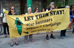 War Resisters Support Campaign at a rally to restore refugee healthcare,  2014