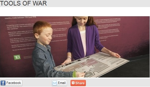 "This picture was shared by the Canadian War Museum with the caption: ""Canadians used a wide variety of tools and equipment during the First World War - from tanks to planes, shells to artillery. Here's your chance to find them all! Pick up this fun, family-friendly scavenger hunt..."" What do we want young people to know about war and peace? What activities contribute to that learning?"