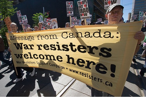 Toronto Friends marching with War Resisters Support Campaign