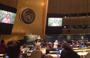 Chief Tadadaho Sid Hill giving a message of welcome at UNPFII 2015. Photo credit: Rachel Singleton-Polster