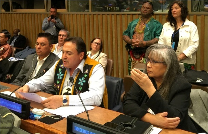 National Chief Perry Bellegarde reading joint statement at UN Permanent Forum on Indigenous Issues 2015. Photo: Monica Walters-Field