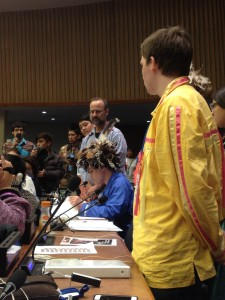 Seneca youth delivering a statement on youth, suicide, and self-harm at UNPFII 2015. Photo credit: Rachel Singleton-Polster