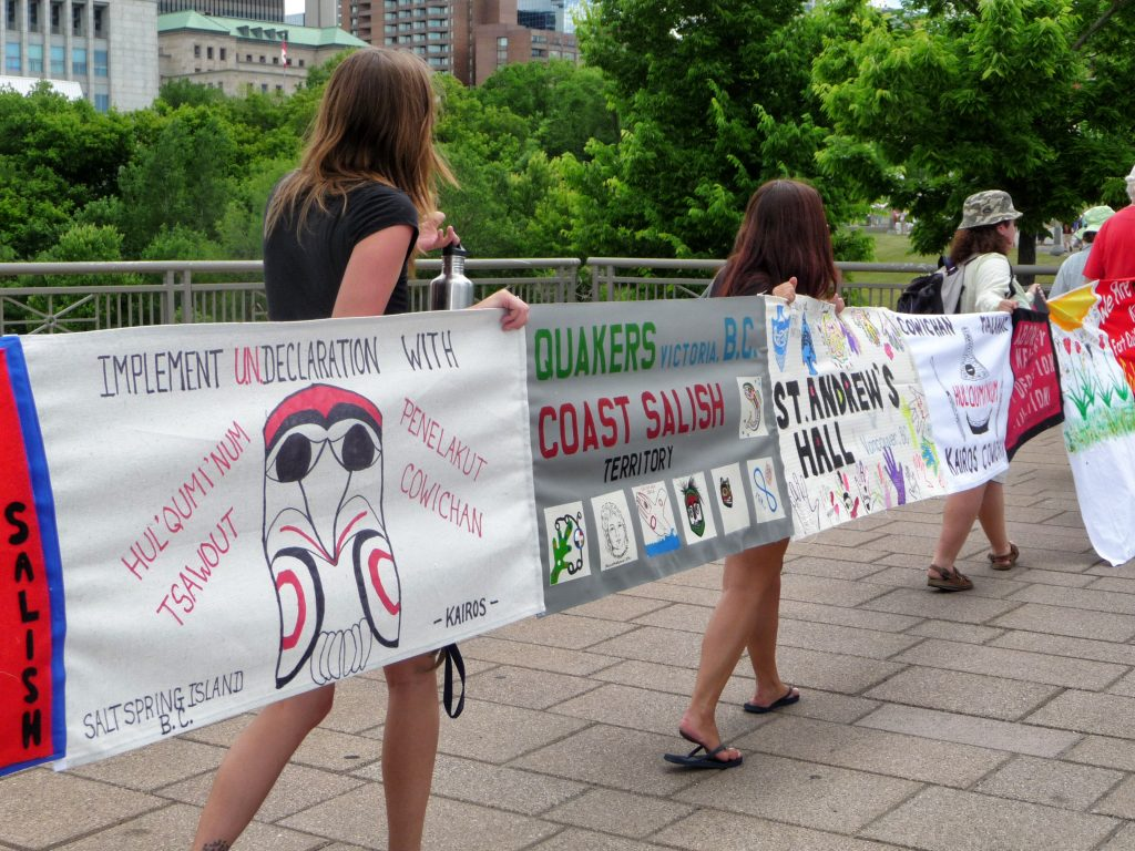 Quakers from across Canada were among those who stitched together banners in Ottawa to show support for the UN Declaration on the Rights of Indigenous Peoples