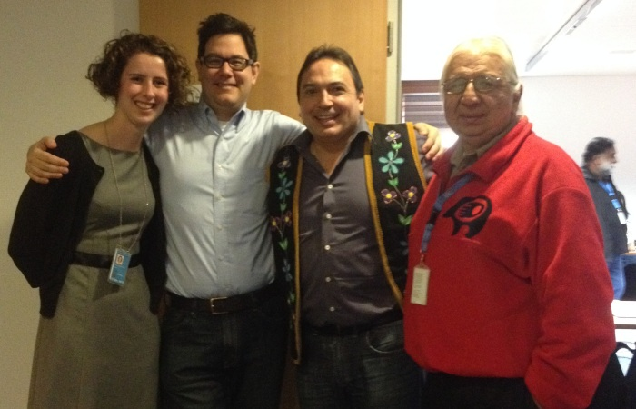 Left to right: Rachel Singleton-Polster (CFSC), Will David (AFN), National Chief Perry Bellegarde and Kenneth Deer