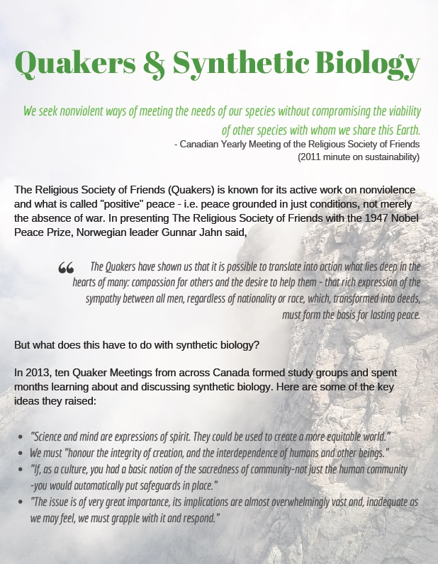 Quakers and synthetic biology