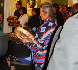 Drummers at an educational event hosted by the Tsilhqot'in Nation while their Title Case was heard by the Supreme Court of Canada, Nov 7, 2013