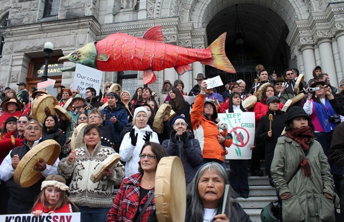 Protest in support of Tsilhqot'in Nation on the steps of the BC Legislature