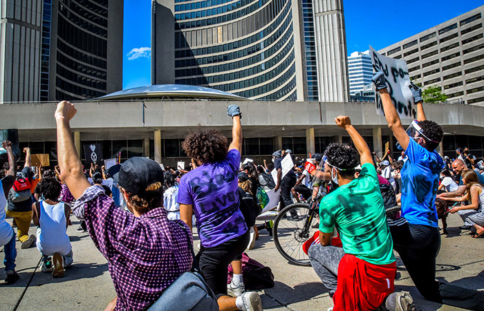 Protest against police racism, Toronto, June 2020