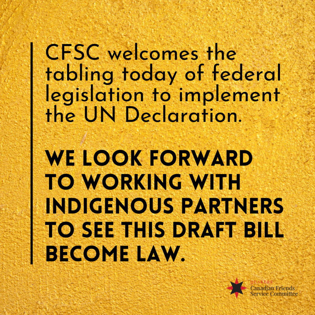 CFSC Welcomes tabling of Bill C-15 to implement UN Declaration on the Rights of Indigenous Peoples
