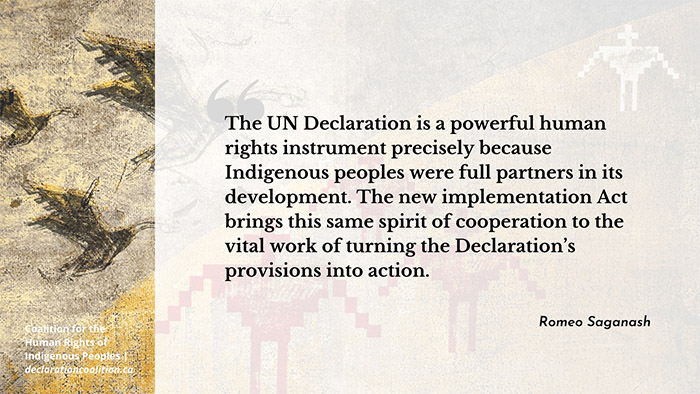 Quote from Romeo Saganash on the importance of new UN Declaration Implementation Act